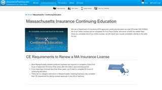 Insurance Continuing Education Online for MA ... - EInsurance Training