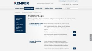 Kemper Personal and Commercial Lines - Customer Login