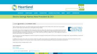 Electro Savings Names New President & CEO   Heartland Credit ...