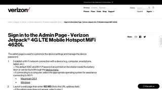 Sign in to the Admin Page - Verizon Jetpack 4G ... - Verizon Wireless