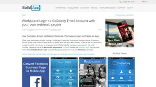Workspace Login to GoDaddy Email Account with your own... - iBuildApp