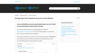 Change login from Facebook account to email address – SUPPORT