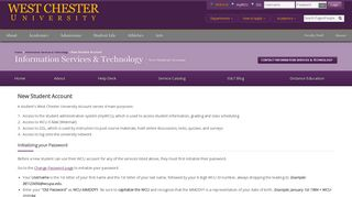 New Student Account - West Chester University