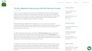The ACI eManifest Portal and your ACE ACI Services Provider