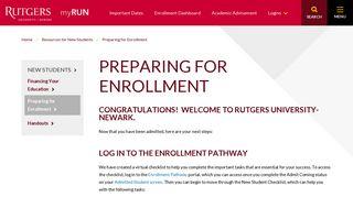 Preparing for Enrollment | Rutgers MyRun
