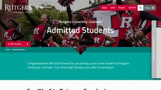 Admitted Students | Admissions | Rutgers University–Camden