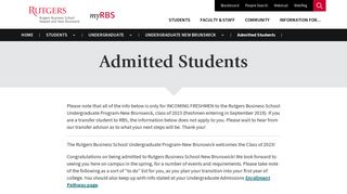 Admitted Students - myRBS - Rutgers University