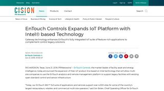 EnTouch Controls Expands IoT Platform with Intel® based Technology