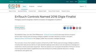 EnTouch Controls Named 2016 Digie Finalist - PR Newswire