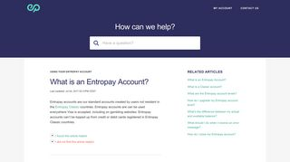 Entropay | What is an Entropay Account?