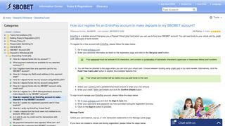 How do I register for an EntroPay account to make deposits to my ...