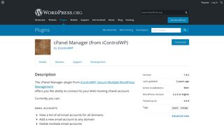 cPanel Manager (from iControlWP) | WordPress.org
