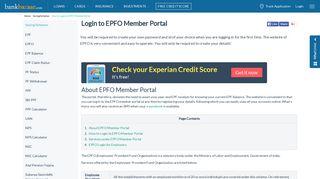 EPF Login- How to Login EPFO Member Portal - BankBazaar