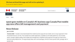 epost goes mobile on Canada's #1 business app Canada Post mobile ...