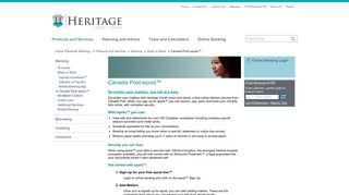 Heritage Credit Union - Canada Post epost™