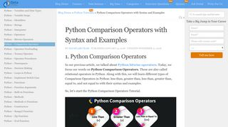 Python Comparison Operators with Syntax and Examples - DataFlair