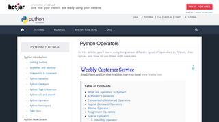 Python Operators: Arithmetic, Comparison, Logical and more.