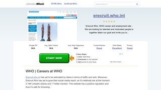 Erecruit.who.int website. WHO | Careers at WHO.