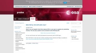 ESA Science & Technology: New portal for suppliers: esa-p