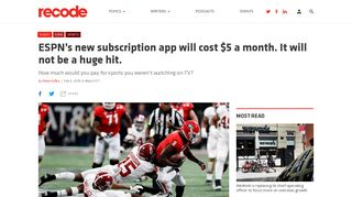 ESPN's new subscription app will cost $5 a month. It will not be a huge ...