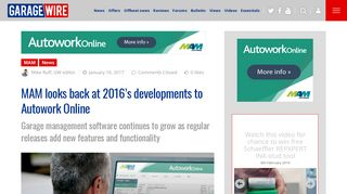 MAM looks back at 2016's developments to Autowork Online ...