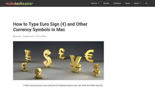 How to Type Euro Sign (€) and Other Currency Symbols in Mac