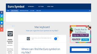 Mac keyboard - Euro Symbol