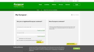 My Europcar   Car Hire in UK, Germany, Spain, Italy, France   Europcar