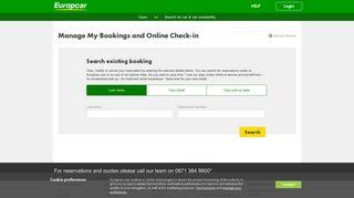 My Europcar - Existing Bookings