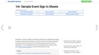 Sample Event Sign In Sheet - 13+ Documents in PDF, Word
