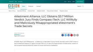 eVestment Alliance, LLC Obtains $3.7 Million Verdict; Jury Finds ...