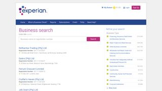 Experian Business Check - Business Search