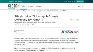 Etix Acquires Ticketing Software Company ExtremeTix - PR Newswire
