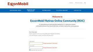 ExxonMobil Retiree Online Community - Login - iModules