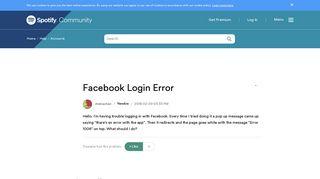 Facebook Login Error - The Spotify Community