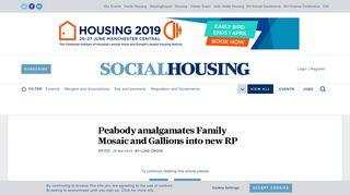 Social Housing - News - Peabody amalgamates Family Mosaic and ...