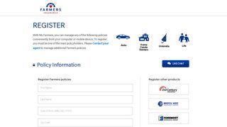 Register for a Farmers.com account