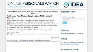 Jumbuck's Fast Flirting Service Wins ME Community Award - Online ...