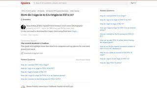 How to sign in to EA Origin in FIFA 14 - Quora