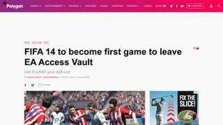 FIFA 14 to become first game to leave EA Access Vault - Polygon