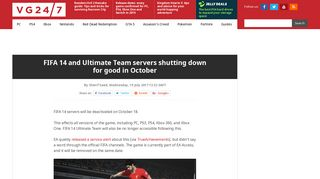 FIFA 14 and Ultimate Team servers shutting down for good in October ...