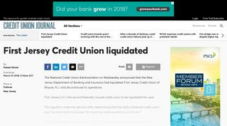First Jersey Credit Union liquidated | Credit Union Journal