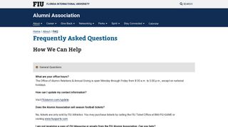 Frequently Asked Questions - FIU Alumni Association