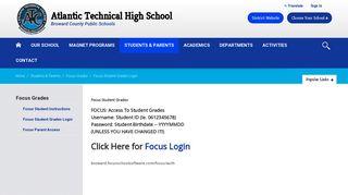 Focus Grades / Focus Student Grades Login