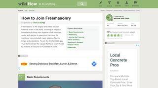 How to Join Freemasonry - wikiHow