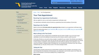 FTCE/FELE Your Test Appointment