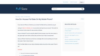 How do I access Full Slate on my mobile phone? – Help Center