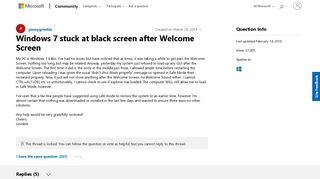 Windows 7 stuck at black screen after Welcome Screen - Microsoft ...