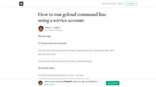 How to run gcloud command line using a service account - Medium
