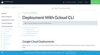 Deployment With gcloud CLI - CodeShip Documentation